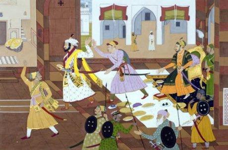 Shivaji leaving Aurangzeb's court in anger.