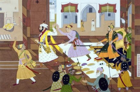 Shivaji leaving Aurangzeb's court in anger.