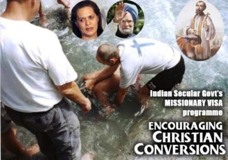 Missionaries baptising new converts in rural India
