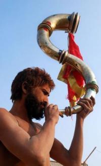 Sadhu with horn at Kumbha Mela 2013