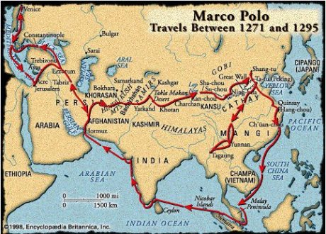 Marco Polo's alleged route to China and back to Venice