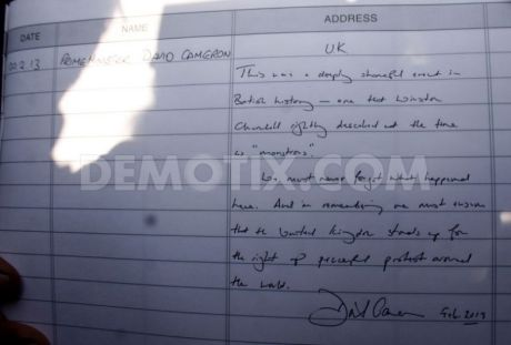 David Caneron's comment in the Jallianwala Bagh Guest Book
