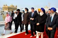 David Cameron with Punjab CM going around the Golden Temple