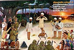 Namdhari Sikhs hung by British for killing butchers a freeing cows at Amritsar and Ludhiana slaughter houses in 1871.
