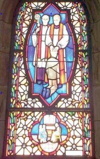 Paedophile priest church window.