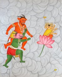 Demons attacking Lord Brahma