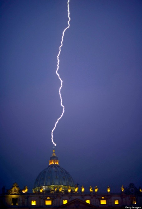 Lightning strikes St. Peter's dome in the Vatican.