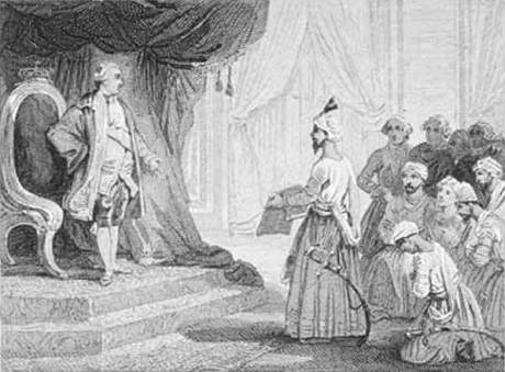 Louis XVI receives the ambassadors of Tipu Sultan in 1788.