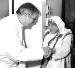 Mother Teresa and her favorite paedophile priest Fr. Donald McGuire. She went so far as to write to the California court hearing the sexual abuse charges against him, and asked the judge to dismiss them. A true saint indeed!