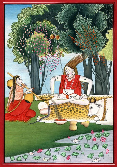 Lord Shiva meditating in bliss while Devi Parvati plays the vina.