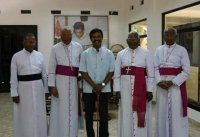 Sri Lankan bishops and the LTTE political head.
