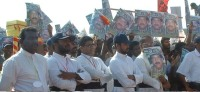 Sri Lankan Catholic priests demonstrating in support of LTTE leader Prabhakaran