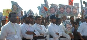 Sri Lankan Catholic priests demonstrating in support of LTTE chief Prabhakaran
