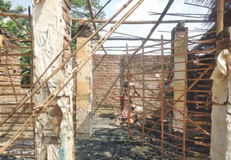 Kali Temple in  Rajoir area of Madaripur, Bangladesh, destroyed by Muslims.