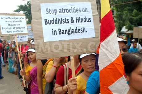 Indian Buddhists protest attacks on temples and homes in Bangladesh.