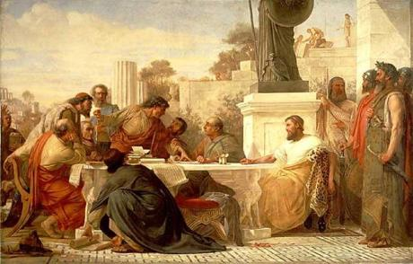 Julian the Apostate presiding at a conference of Christians.