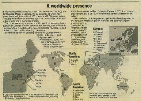 Map of Legionares of Christ