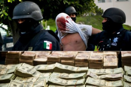 Federal police officers arrest suspects following a shooting, Tijuana, Mexico, 2009; Federal presentation of seized cartel money, Mexico City, 2012. (Shaul Schwarz/Getty, Ronaldo Schemidt/AFP/Getty)
