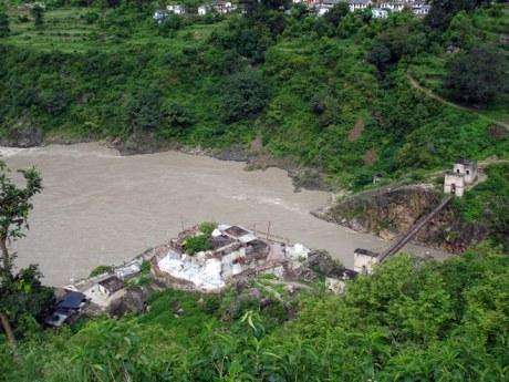Dhari Devi Temple in the Alaknanda River