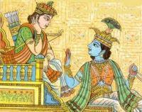 Krishna teaching the yogas to Arjuna