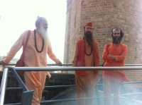 Hinduism Today representatives with Spanish sannyasi Swami Satyananda Saraswati (R) in Barcelona.