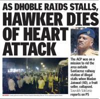 Street vendor dies during police raid.