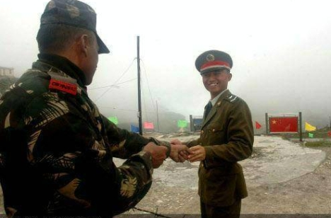 India and China face each other on the Tibet border