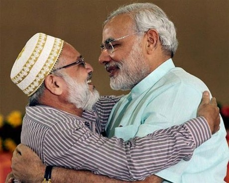 Narendra Modi with a Muslim leader.