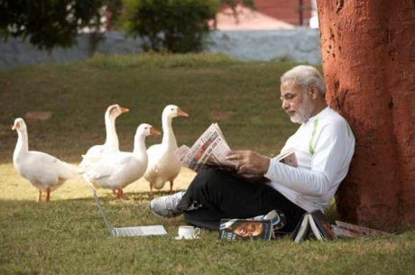 Narendra Modi at leisure in the garden of his house.