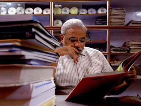 Narendra Modi at work.