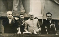 Khruschev & Nehru at an Indo-Soviet Friendship Rally in Moscow on September 8, 1961
