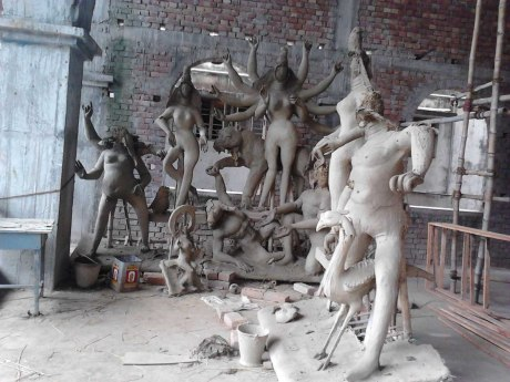 Broken images of Hindu deities.
