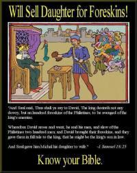 David delivering 200 Gentile foreskins to King Saul.