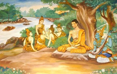 A wall-painting in a Laotian temple, depicting the Bodhisattva Gautama (Buddha-to-be) undertaking extreme ascetic practices before his enlightenment. A god is overseeing his striving, and providing some spiritual protection. The five monks in the background are his future 'five first disciples', after Buddha attained Full Enlightenment.