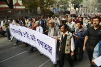 Kolkata intellectuals protest TMC harassment of theatre personality.