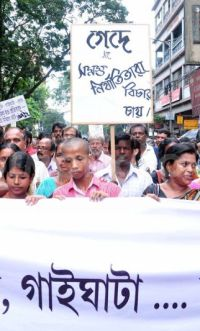 Kamduni victim Shipra Ghosh's brother protests his sister's rape and murder by Ansar Ali and four other Muslim men.