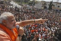 Modi speaking at a rally.