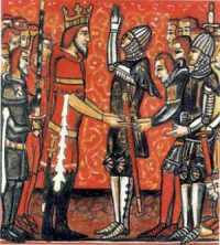 Roland pledges his fealty to Charlemagne.