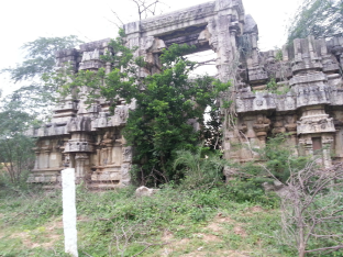 Entrance to the Vishnu Temple destroyed by Hyder Ali in 1782.