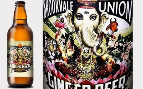 Ganesha on Australian beer bottle label.
