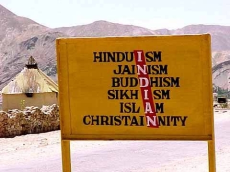 Indian army signpost in the Himalayas
