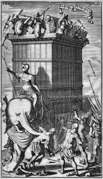 Indian war elephant against Alexander's troops (1685).