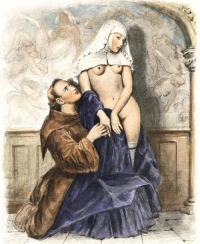 Medieval Monk with Nun: Mediaeval convents in Europe were high class brothels.