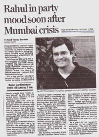 Congress secretary Rahul Gandhi partied after Mumbai attack in 2008. CLICK IMAGE TO ENLARGE