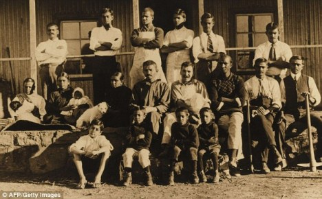 Gandhi and Kallenbach (middle row, centre) pose for a picture at Tolstoy Farm, South Africa in 1910. They became constant companions after they met in Johannesburg in 1904.