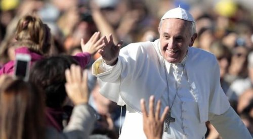 Pope Francis meeting Catholic pilgrims in St Peter's Square