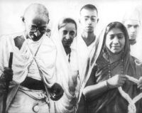 M.K. Gandhi &n Sarojini Naidu on the Salt March, 1930
