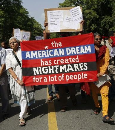 Protest outside US Embassy, New Delhi