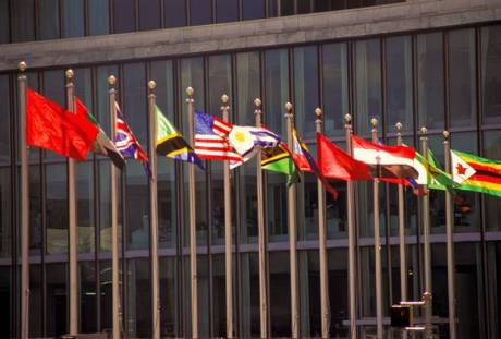 Flags at the United Nations building in New York