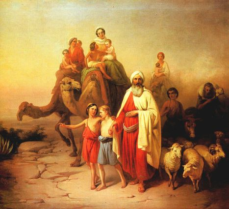 Abraham with sons Ishmael and Isaac.